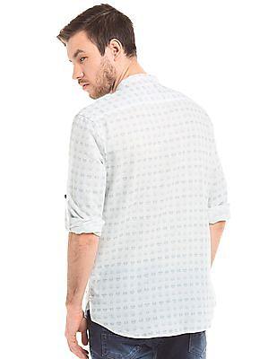 True Blue Printed Linen Cotton Shirt