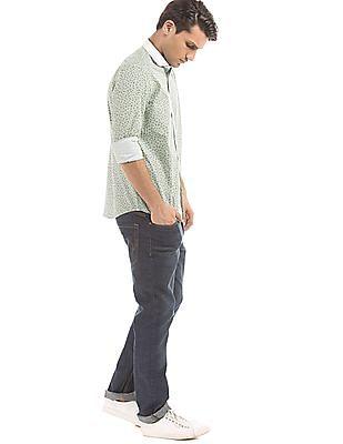 Geoffrey Beene Contrast Collar Printed Shirt