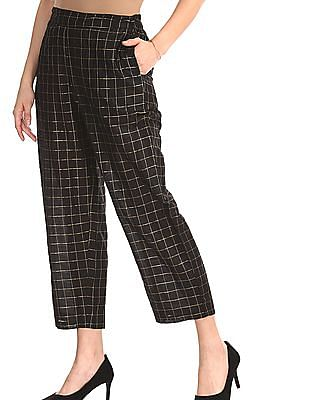 Anahi Black Mid Rise Woven Check Pants