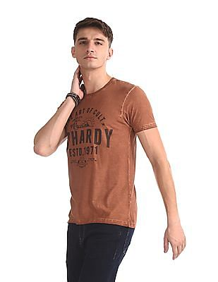 Ed Hardy Brown Crew Neck Graphic T-Shirt