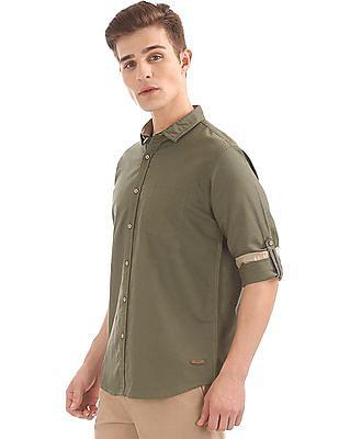 Cherokee Contemporary Fit Cotton Linen Shirt
