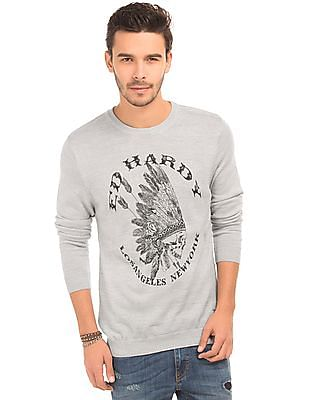 Ed Hardy Round Neck Printed Sweater