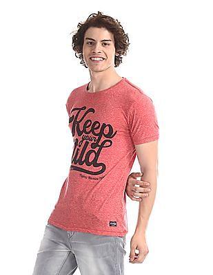 Flying Machine Red Heathered Graphic T-Shirt