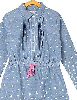 U.S. Polo Assn. Kids Girls Star Print Chambray Shirt Dress
