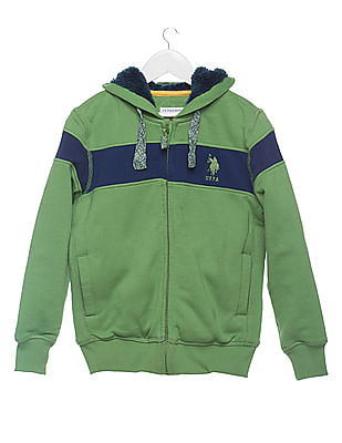 U.S. Polo Assn. Kids Boys Hooded Zip Up Sweatshirt