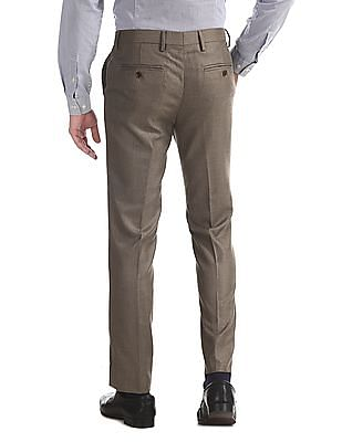 Arrow Brown Slim Fit Patterned Trousers
