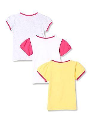 Cherokee Girls Round Neck Printed T-Shirt - Pack Of 3