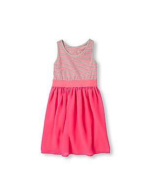 The Children's Place Girls Sleeveless Striped Racer Back Dress