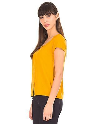 Bronz Front Slit Round Neck Top