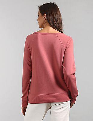 GAP Women Pink Brand Applique Crew Neck Sweatshirt