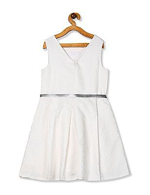 U.S. Polo Assn. Kids White Girls Jacquard Fit And Flare Dress