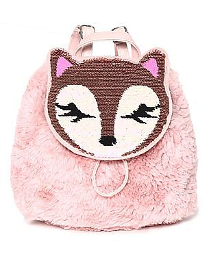The Children's Place Pink Girls Flip Sequin Fox Faux Fur Mini Backpack