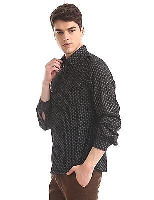Cherokee Black Spread Collar Printed Shirt