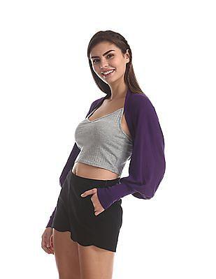 Flying Machine Women Purple Cropped Long Sleeve Shrug