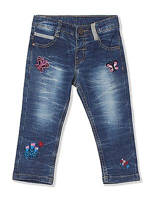 Donuts Girls Mid Rise Washed Jeans