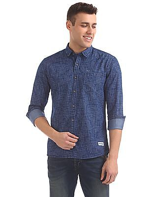 Flying Machine Slim Fit Printed Denim Shirt
