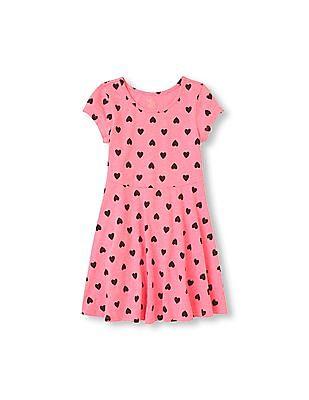 The Children's Place Girls Short Sleeve Heart Print Skater Dress