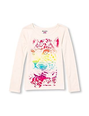 The Children's Place Girls Long Sleeve Embellished Graphic Top