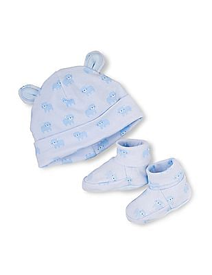 The Children's Place Baby Boys Bear Print Hat And Bootie Set