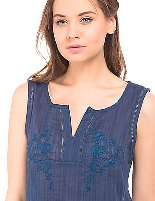 Elle Floral Embroidery Cotton Top