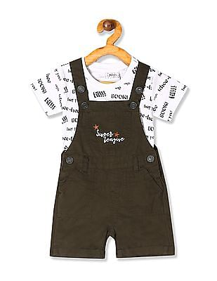 Donuts Assorted Boys Dungaree With T-Shirt