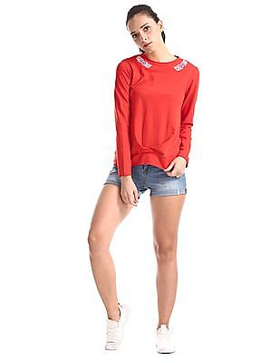 Cherokee Red Long Sleeve Cotton Top