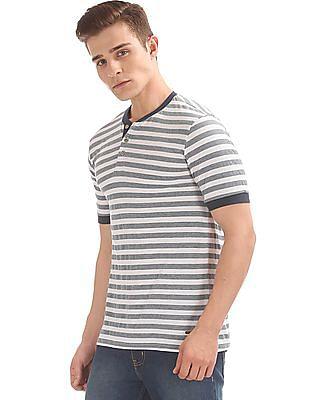 Cherokee Striped Henley T-Shirt