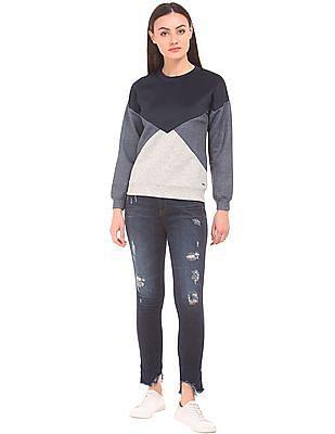 Elle Colour Block Crew Neck Sweatshirt