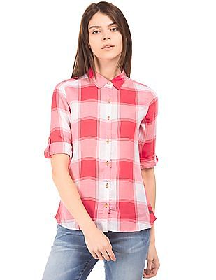 U.S. Polo Assn. Women Regular Fit Plaid Shirt
