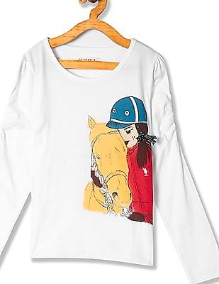 U.S. Polo Assn. Kids Girls Standard Fit Printed Top