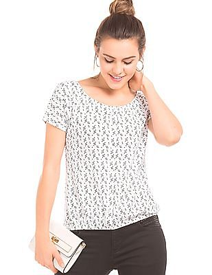 SUGR Geometric Print Balloon Top