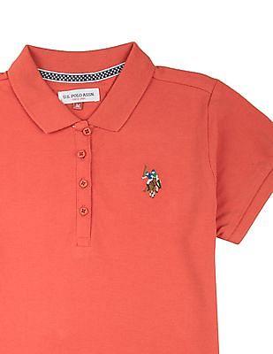 U.S. Polo Assn. Kids Girls Regular Fit Pique Polo Shirt