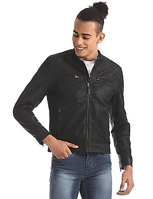 U.S. Polo Assn. Denim Co. Genuine Leather Panelled Biker Jacket