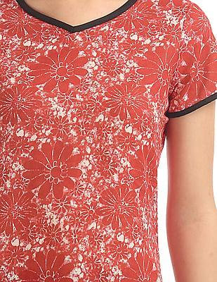 Karigari Short Sleeve Floral Print Kurta
