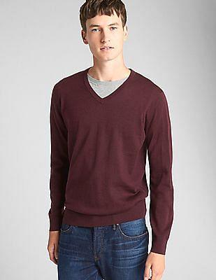 GAP Men Red V-Neck Pullover Sweater In Merino Wool