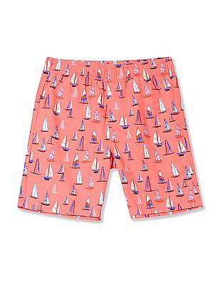 FM Boys Boys Sailboat Print Woven Shorts