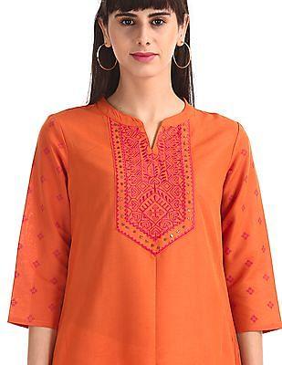 Anahi Orange Dipped Hem Printed Kurta
