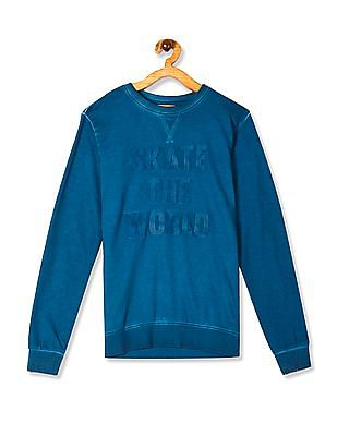 FM Boys Blue Boys Crew Neck Rubber Print Sweatshirt