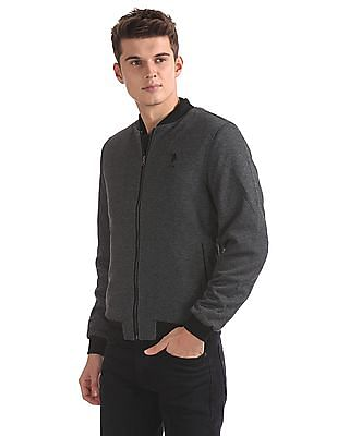U.S. Polo Assn. Chevron Pattern Zip Up Bomber Jacket