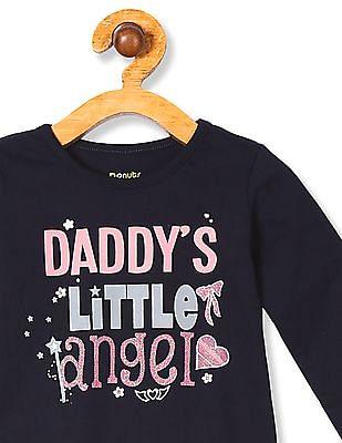 Donuts Girls Long Sleeve Glitter Print T-Shirt