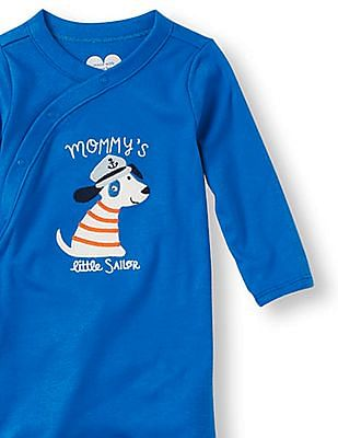 The Children's Place Baby Boys Layette Long Sleeve 'Mommy's Little Sailor' Dog Footed Sleep And Play