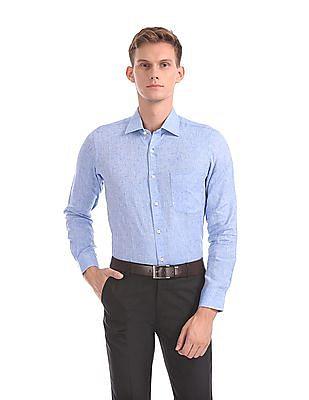 Arrow Patterned Weave Linen Shirt