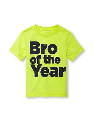 The Children's Place Toddler Boy Short Sleeve 'Bro Of The Year' Neon Graphic Tee