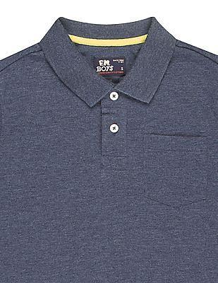 FM Boys Boys Slim Fit Heathered Polo Shirt