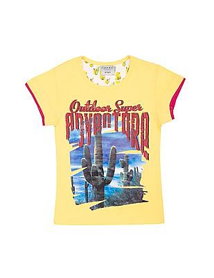 Cherokee Girls Graphic Print Cotton T-Shirt