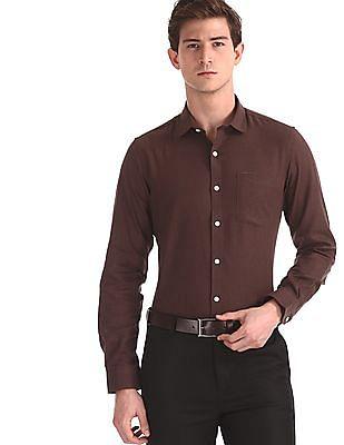 Excalibur Brown Semi Cutaway Collar Solid Shirt