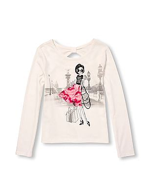 The Children's Place Girls Long Sleeve Embellished Graphic Bow-Back Cutout Top