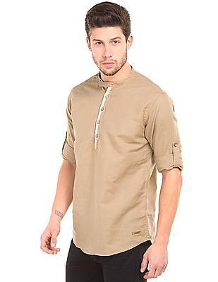 Cherokee Mandarin Collar Popover Shirt