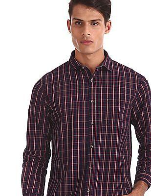 Ruggers Blue Mitered Cuff Regular Fit Shirt