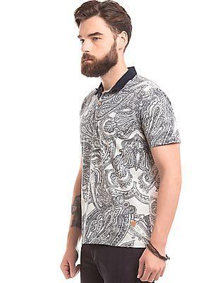 True Blue Paisley Print Slim Fit Polo Shirt